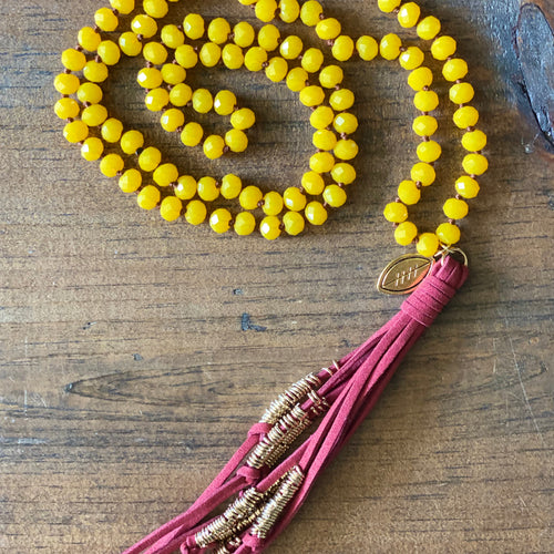 Team Maroon and Dark Yellow Tassel Necklace