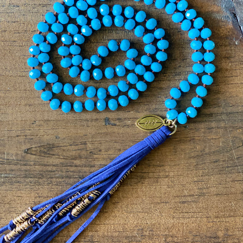 Team Blue and Powder Blue Tassel Necklace