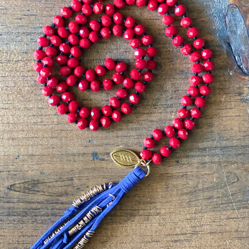 Team Blue and Red Tassel Necklace
