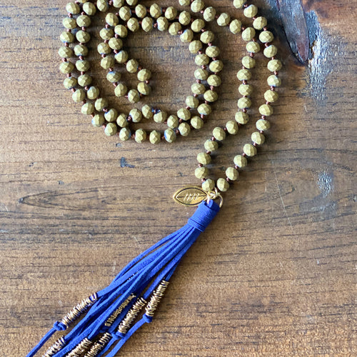 Team Blue and Gold Tassel Necklace