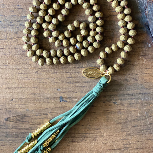 Team Hunter Green and Gold Tassel Necklace