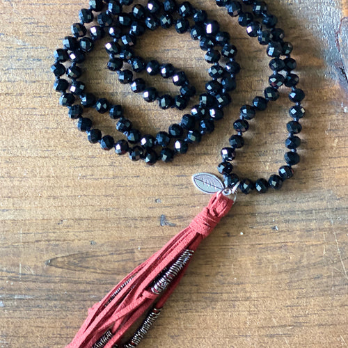 Team Black and Maroon Tassel Necklace