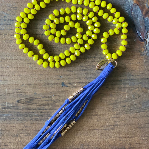Team Blue and Yellow Tassel Necklace