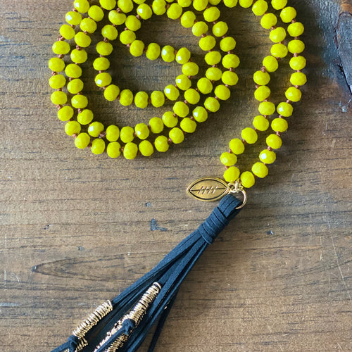 Team Black and Yellow Tassel Necklace