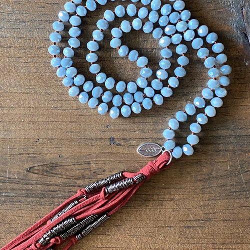 Team Maroon and Grey Tassel Necklace