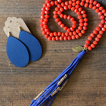 Load image into Gallery viewer, Team Blue and Dark Orange Tassel Necklace