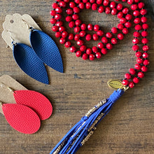 Load image into Gallery viewer, Team Blue and Red Tassel Necklace