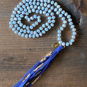 Team Blue and White Tassel Necklace
