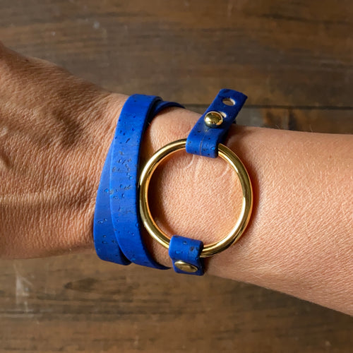 Royal Blue Cork Wrap Bracelet