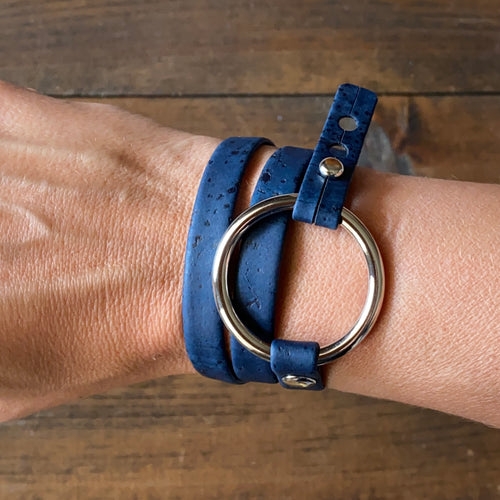 Navy Blue Cork Wrap Bracelet