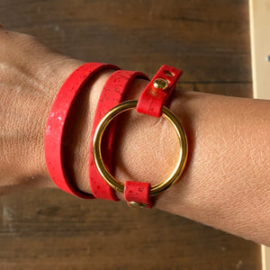 Red Cork Wrap Bracelet