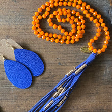 Load image into Gallery viewer, Team Orange and Blue Tassel Necklace