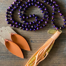 Load image into Gallery viewer, Team Purple and Orange Tassel Necklace