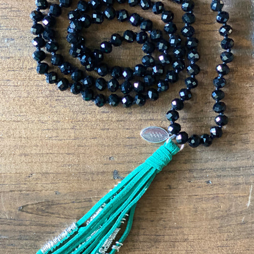 Team Black and Green Tassel Necklace