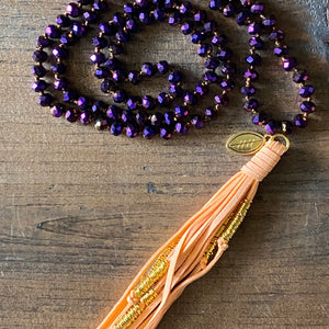 Team Purple and Orange Tassel Necklace