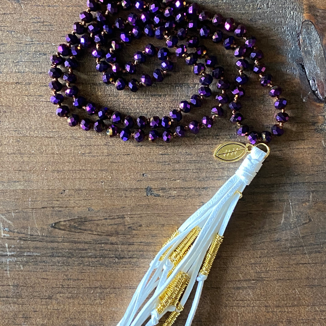 Team Purple and White Tassel Necklace