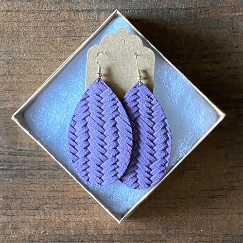 Amethyst Braided Leather Earring (additional styles available)