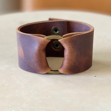 Load image into Gallery viewer, Whiskey Leather Wide Cuff