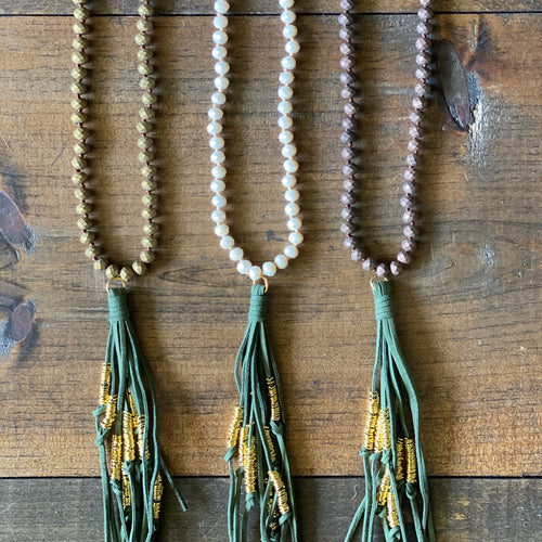 Hunter Green Tassel Necklaces