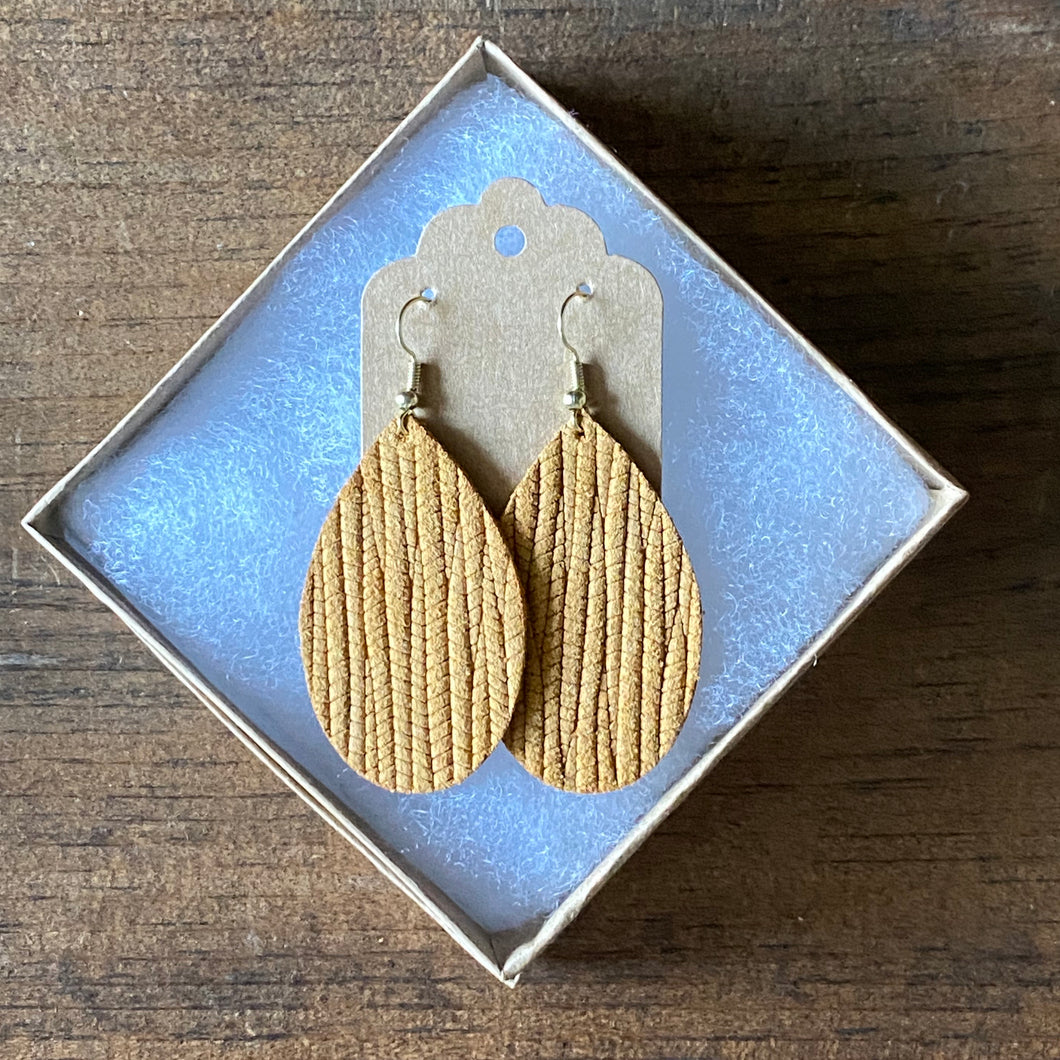 Dark Mustard Palm Leather Earring (additional styles available)