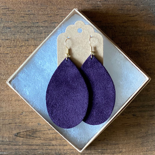 Deep Plum Suede Earrings (additional styles available)