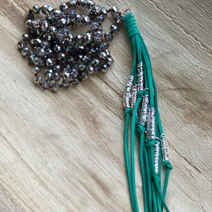 Green Suede Tassel Necklace