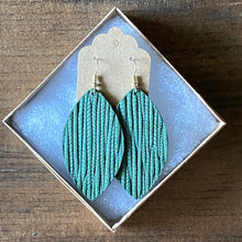 Load image into Gallery viewer, Pine Green Palm Leather Earring (additional styles available)