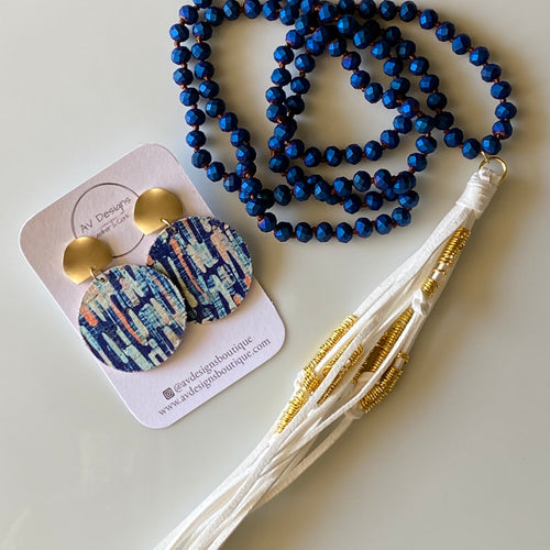 Tahiti Blue Cork Earring and Necklace Gift Set