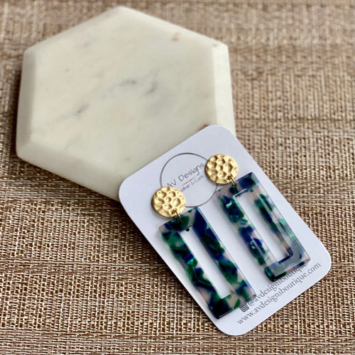 Green and Navy Tortoise Rectangle with Gold Hammered Stud