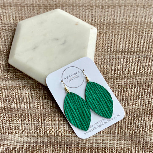 Green Palm Leather Earrings (additional styles available)