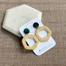 Load image into Gallery viewer, Rattan Hexagon with Green Tortoise Stud