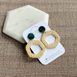 Rattan Hexagon with Green Tortoise Stud