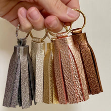 Load image into Gallery viewer, Metallic Leather Tassel Keychains