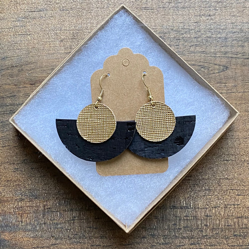 Moon Drop Earrings in Black Cork and Gold Leather