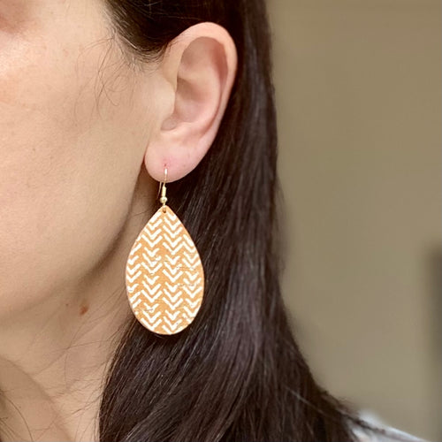 Neutral Mustard Chevron Cork Earring (additional styles available)