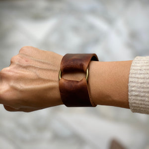 Whiskey Leather Wide Cuff