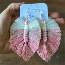 Load image into Gallery viewer, Macrame Feather Statement Earrings (Ombré)