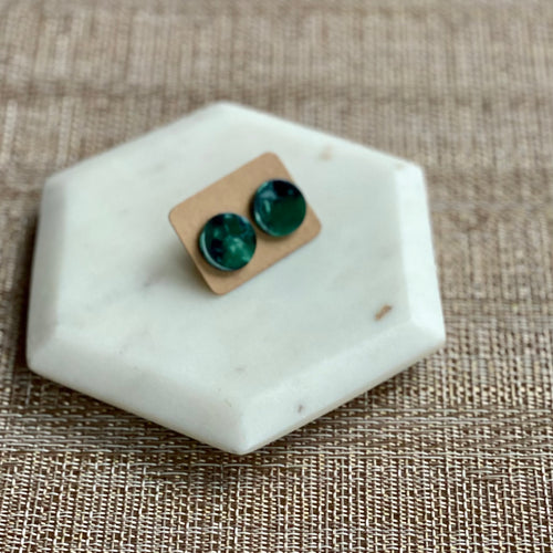 Green and Navy Tortoise Studs