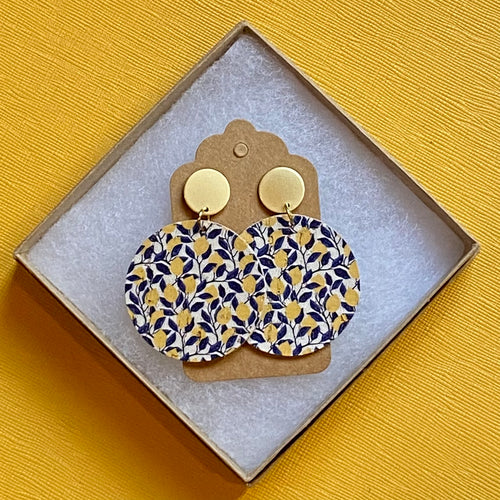 Lemon and Navy Cork Disc with Stud