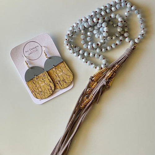English Garden Cork Earring and Necklace Gift Set