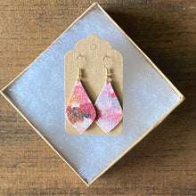 Load image into Gallery viewer, Cranberry Bubbles Glitter Leather Earrings