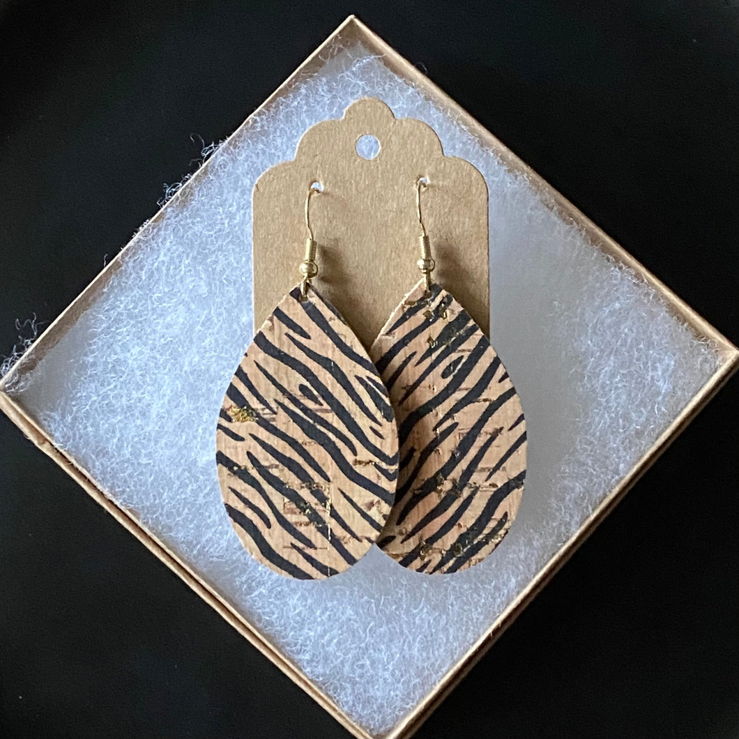 Tiger Print Cork with Gold Specks (12 Days of Earrings)