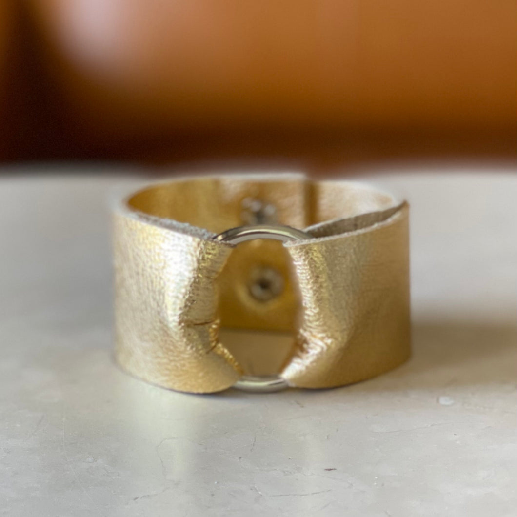 Gold Leather Wide Cuff
