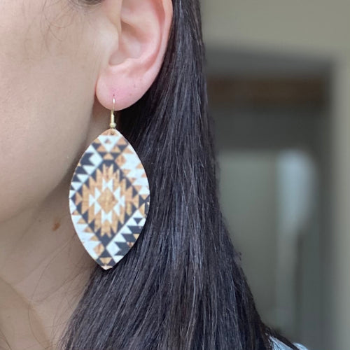 Black and Tan Aztec Cork Earring