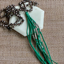 Load image into Gallery viewer, Green Suede Tassel Necklace