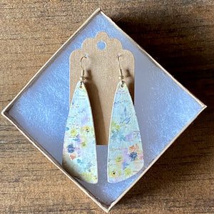 Summer Watercolor Flowers Cork Earrings