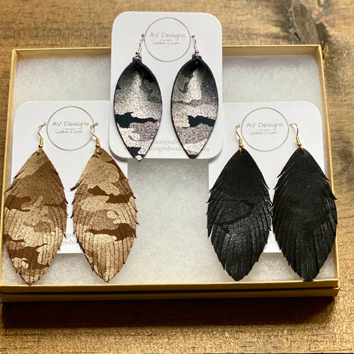 Camouflage Leather Earrings (additional styles available)