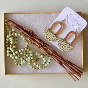Mint Leopard Cork Earring and Necklace Set