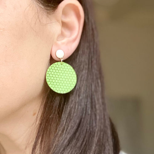 Lime Green Disc with White Enamel Stud