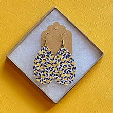 Load image into Gallery viewer, Lemon and Navy Cork Earrings